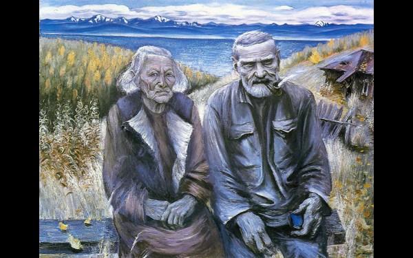 Картина Галины Новиковой «Дед Дмитрий и бабка Мария» из цикла портретов жителей Порта Байкал.