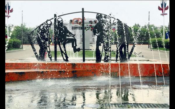 Необычный фонтан «Шахтеры»