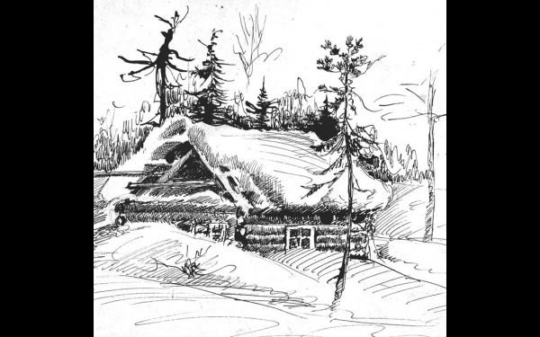 «Согдиондон. Жилая избушка на гольце Мир» (рисунок И.А.Денискина, 1965 г.).
