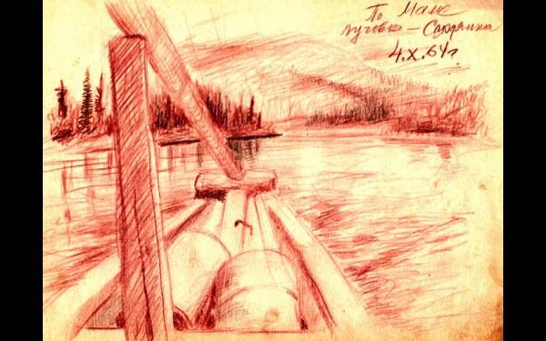 Вверх по реке Маме: баржа следует от Луговки до Слюдянки (рисунок И.А.Денискина, 4 октября 1964 года).