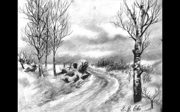 Дорога на голец Пегматитовый (рисунок И.А.Денискина, 8 марта 1966 года).