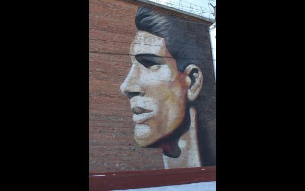А на рядом стоящих домах одной из улиц изображены лица парня и девушки, как гимн молодости. Вот парень…