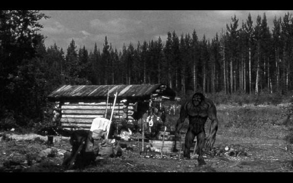 То самое зимовье, где исследователей пугал лесной человек. Чудище рядом со строением — реконструкция событий с помощью фотошопа.