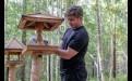 В птичьей столовой пернатых кормят семечками