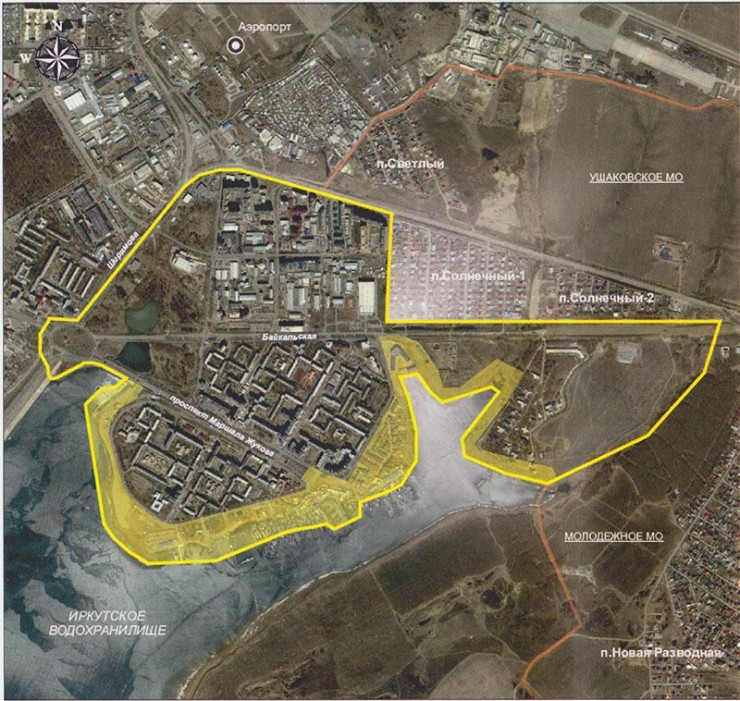 На карте — зона глобальной реконструкции набережной в иркутском микрорайоне Солнечном. Протяженность береговой линии — 2300 метров. Желтым цветом выделена площадь, которая будет благоустроена