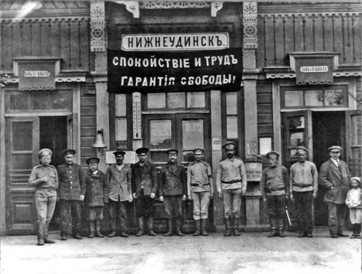 Вокзал станции Нижнеудинск. 1917 год. Фото О.С. Уайтмана.
