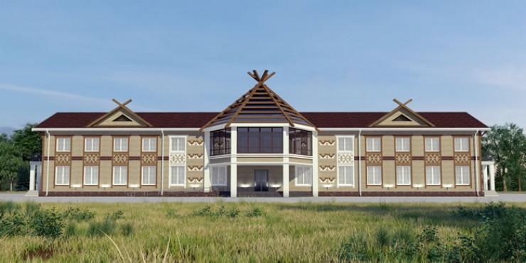 В оформлении фасада Дома культуры в Алыгджере дизайнеры прибегают к этническим мотивам, национальным орнаментам.