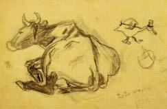 Корова и утёнок. Рисунки Миши Миля. 1922 год