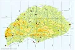 Карта о. Врангеля с обозначением ареала обитания животных.
