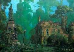 В работах Шоболова можно разглядеть мотивы города Ангкор в Камбодже