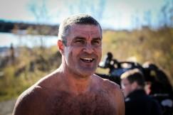 Основатель и руководитель клуба зимнего плавания «Прибайкальцы» Андрей Бугай. Как самый опытный, он замыкал нынешний заплыв. Его время прохождения дистанции — 18 минут 52 секунды.