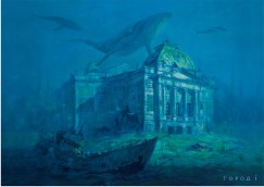 В анимации морские животные движутся, проплывая  над Иркутским драматическим театром